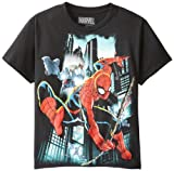 Marvel Boys 8-20 Sled Lights T-Shirt, Black, Large