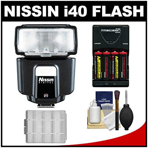 Nissin Digital I40 Speedlite Flash With Batteries & Charger + Kit For Olympus/Panasonic Micro 4/3 Digital Cameras