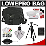 Lowepro Stealth Reporter D200 AW Digital SLR Camera Bag/Case (Black) + Photo/Video Tripod + Canon Cleaning Kit for Canon EOS 7D, 5D Mark II III, 60D, Rebel T3, T3i, T2i Digital SLR Cameras