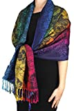Peach Couture Rainbow Silky Tropical Hibiscus Floral Pashmina Wrap Shawl Scarf Dark Navy