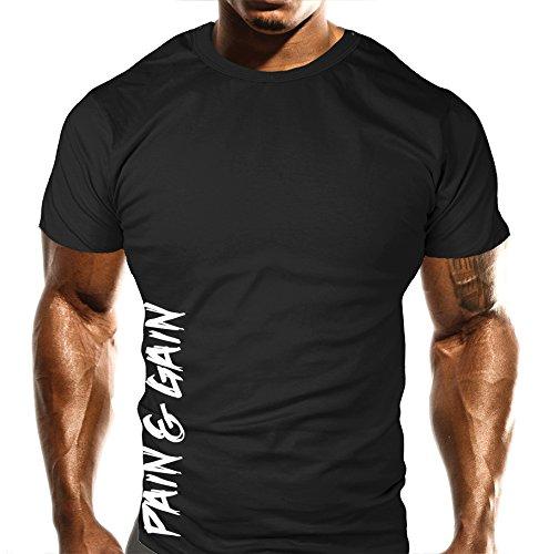 """New dolore e Gain-T-Shirt da allenamento in palestra, sport, body building, stile Casual, da uomo, Loose Fit Top """""""