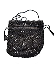 Raun Harman Beaded Pull String Fashionable Black-White Bag