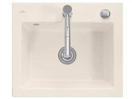 Villeroy & Boch Subway 60 S Ivory Ceramic Basin Mounted Sink Kitchen Mat Beige