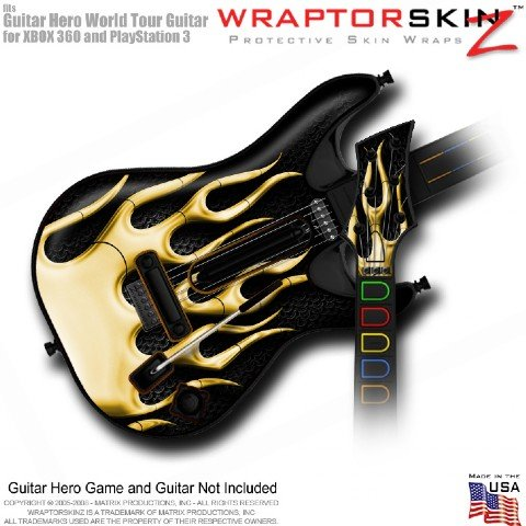Metal Flames Yellow Skin fits Guitar Hero 5 & World Tour Guitar for XBOX 360
