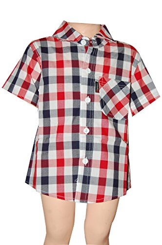 Red Habooz Cotton Black Red White Check Shirt For Boys (Multicolor)