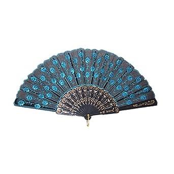 SODIAL(TM) Peacock Pattern Sequin Fabric Hand Fan Decorative Blue Color