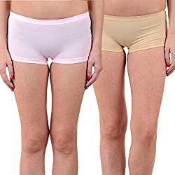 Mynte Women's Sports Shorts (MEWIWCMBP-SHR-97-96, Baby Pink, Beige, Free Size, Pack of 2)
