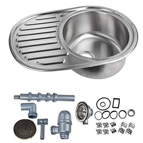 Stabilo-Sanitaer Edelstahl Waschbecken Spüle rechts Einbauspüle Spülbecken Küchenspüle rund mit Ablage links Edelstahlspüle Waschtisch Rundspüle Rundbecken