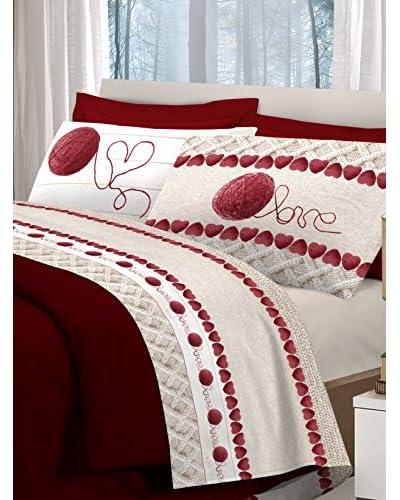 Claire Maison Betttuch und Kissenbezug rot