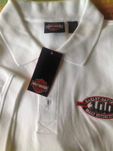 Harley Davidson 100th Anniversary White Button Polo Shirt Large