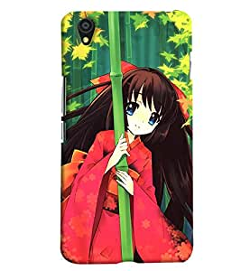 Blue Throat Cartoon Girl With Tree Hard Plastic Printed Back Cover/Case For OnePlus X