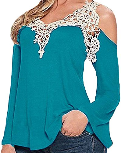 Wome Sexy V Neck Off Shoulder Hollow out Lace Long Sleeve Blouse Tops