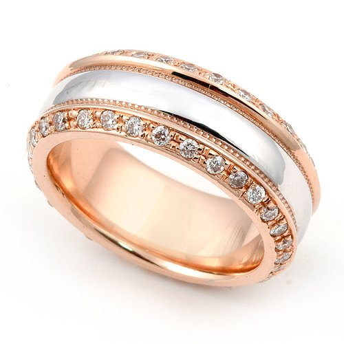 18K White And Rose Gold Pave Set Diamond Eternity Wedding Band Ring (G-H/Vs, 1 Ct.), 7