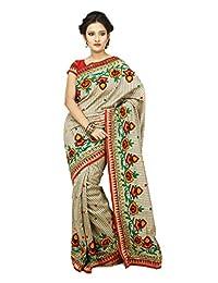 Mina Saree Women's Silk Resham Saree With Blouse Piece (Ms-1025 _Beige)