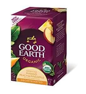 Good Earth Organic Green Tea, Mango, Peach, and Pineapple, Decaffeinated, 18-Count Tea Bags (Pack of 6)