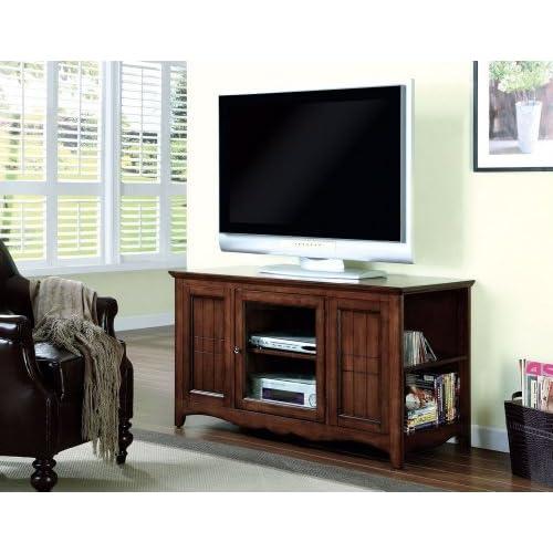 Monarch Specialties Oak Solid Wood and Veneer 48-Inch TV Console
