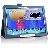 IVSO hochwertiges PU Leder Etui hülle Tasche Case - mit Standfunktion und automatischem Schlaf Funktion, super 360° Anti-Wrestling, ist für Samsung Galaxy Note 10.1 2014 Edition/ Version P6000/P6050 Tablet-PC perfekt geeignet,Blau|