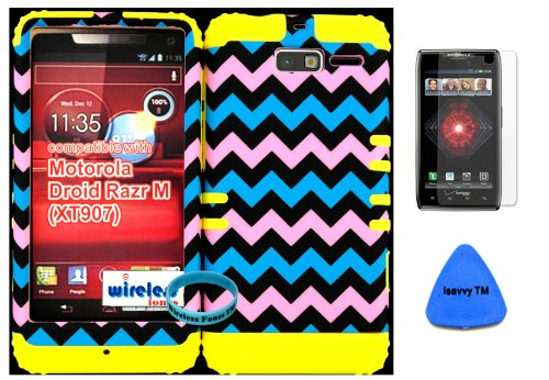 Hybrid Cover Bumper Case For Motorola Droid Razr M (Xt907, 4G Lte, Verizon) Protector Baby Pink, Blue, Black Chevron Pattern Snap On + Yellow Silicone (Included Wristband, Screen Protector And Pry Tool By Wirelessfones) front-1002874