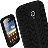 iGadgitz Black Silicone Skin Case Cover with Tyre Tread Design for Samsung Galaxy Ace 2 I8160 Android Smartphone Cell Phone + Screen Protector
