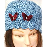 Hand Crocheted Denim Color 100% Rayon Chenille and Gimp Skull Cap for Women and Teens Trimmed with Two Rhinestone Velvet Butterfly