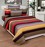 BeautifulHOMES Gorgeous Cotton Double Bedsheet With 2 Pillow Cover - Red and Brown