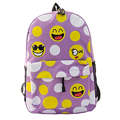 Top Shop Womens Canvas Smilies Expression Backpack Travel Daypack Tote School Shoulder Purple Bags (Party Shops Brighton)