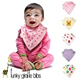 Set of 5 Girls Summer Funky Giraffe Bandana Bibs
