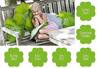 GLÜCKLICHE STUNDEN Filzsitzkissen Kleeblatt Sitzkissen Filz Kissen Ø 40 cm Gilde, verschiedene Sprüche, grün-hellgrau von Gilde Handwerk auf Gartenmöbel von Du und Dein Garten