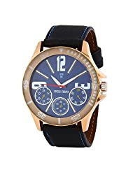 Swiss Trend Latest Trend Blue Dial Mens Wrist Watch With Black Leather Strap (Artshai1650-Blue)