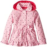 Pink Platinum Girls 2-6X Polka Hearts Hooded Trench Rain Jacket, Pink, 6X