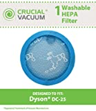 Dyson DC25 Lifetime Washable & Reusable HEPA Vacuum Cleaner Filter, Fits ALL Dyson DC25 DC-25 Vacuums and Replaces Dyson Vacuum Part # 914790-01, 919171-02, 91479001, 91917102 ; Designed & Engineered by Crucial Vacuum