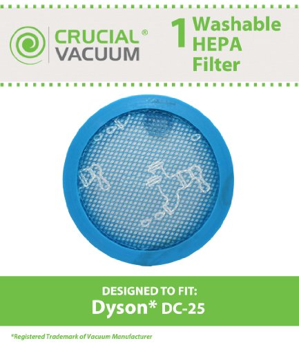Dyson Dc25 Lifetime Washable & Reusable Hepa Vacuum Cleaner Filter, Fits All Dyson Dc25 Dc-25 Vacuums And Replaces Dyson Vacuum Part # 914790-01, 919171-02, 91479001, 91917102 ; Designed & Engineered By Crucial Vacuum front-7538