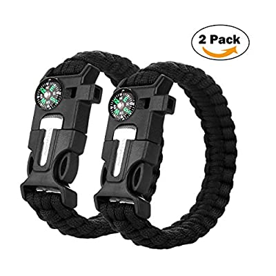 2PCS PACK Multifunctional Paracord Bracelet, Cos2be Outdoor Survival Kit Parachute Cord Buckle W Compass Flint Fire Starter Whistle Scraper for Hiking Camping Emergency