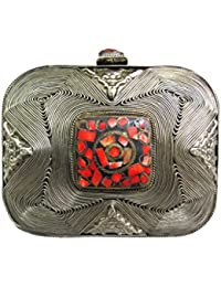 Antique Silver Red Brooch Metal Clutch Box