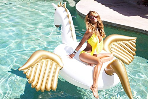 "Giant Inflatable Pegasus Pool Floats 94"" - 250cm Outdoor Swimming Pool Large Floatie Float Lounge For Adults & Kids"