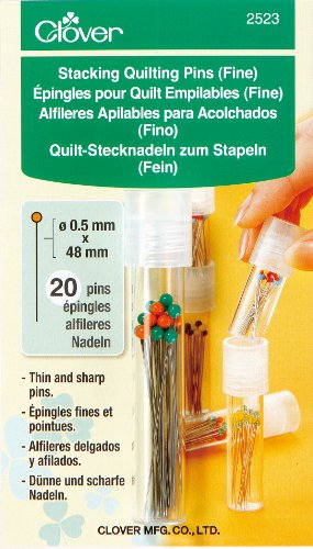 Clover 2523 Stacking Quilting Pins, Fine 20 Pins Included