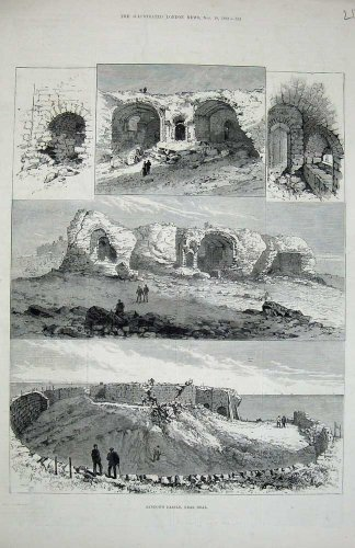 1882 Sandown Castle Deal Ruins Building Antique Print