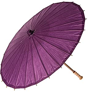 Luna Bazaar Plum Purple 20 Inch Small Premium Paper Parasol (for children or decorative use)