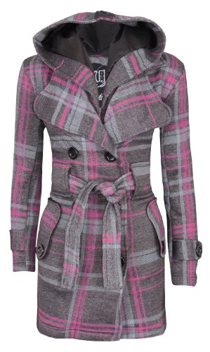 Womens Belted Button Coat, Charcoal Check, L UK 12