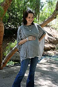 Oslo Nursing Cover By Dria (Breastfeeding Poncho with Organic Modal Fabric, Grey and Black Stripes)