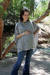 Oslo Nursing Cover By Dria (Breastfeeding Poncho with Organic Modal Fabric, Grey and Black Stripes)