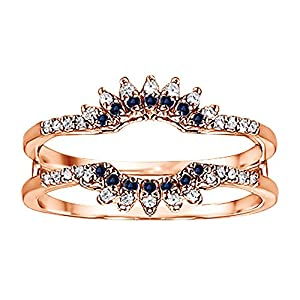 0.22CT Diamond and Sapphire Contoured Wedding Ring Jacket set in Rose Gold Plated (0.22CT TWT G-H I2-I3 Diamond and Sapphire)