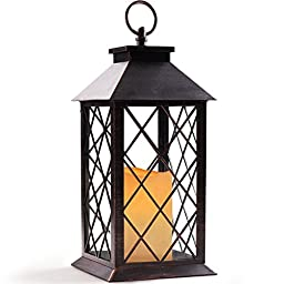 BRIGHT ZEAL Indoor/Outdoor Decorative Candle Lantern - Lantern With Timer Candle - Vintage Lantern Decor - Flameless Candle Lantern - Hanging Candle Lantern - Home Decor (Bronze, Timer Featured)