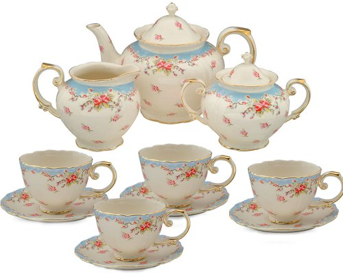 Discover Bargain Gracie China Vintage Blue Rose Porcelain 11-Piece Tea Set, Blue