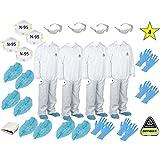 MP-100 ( L)(Four) White Disposable Microporous Paint Coveralls Suits + 4 N-95 Masks + 4 Safety Glasses + 8 Gloves size L + 8 Shoe Covers size XL