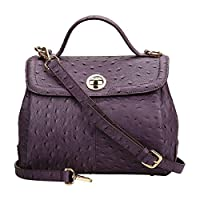 Kattee Women's Genuine Leather Ostrich Grain Tote Shoulder Bag