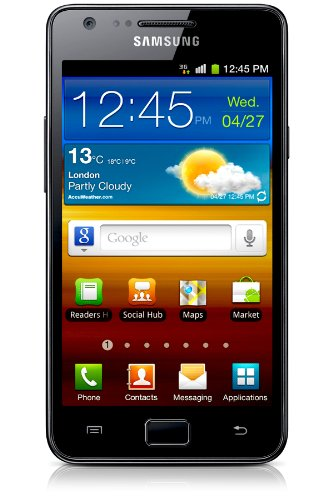 Samsung i9100 Galaxy S II Unlocked GSM Smartphone with 8 MP Camera, Android OS, 16 GB Internal Memory, Touchscreen, Wi-Fi, and GPS–No Warranty (Noble Black)