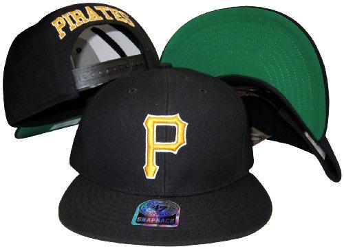 Pittsburh Pirates Black Plastic Snapback Adjustable Plastic Snap Back Hat / Cap