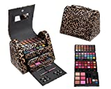 Cameo Cosmetics 86pc Premium Make Up Set With Reusable Brown Leopard Bag Eye Shadows, Lip Colors, Lip Balms, Face Powders, Blushes, Lip Sticks, Lip Glosses, Pencils, Brush, Applicators