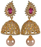Violet & Purple Gold Alloy Jhumki Earrings for Women (1000031669)